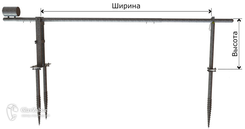 Эскиз шлагбаума с фланцами (на винтовых опорах)