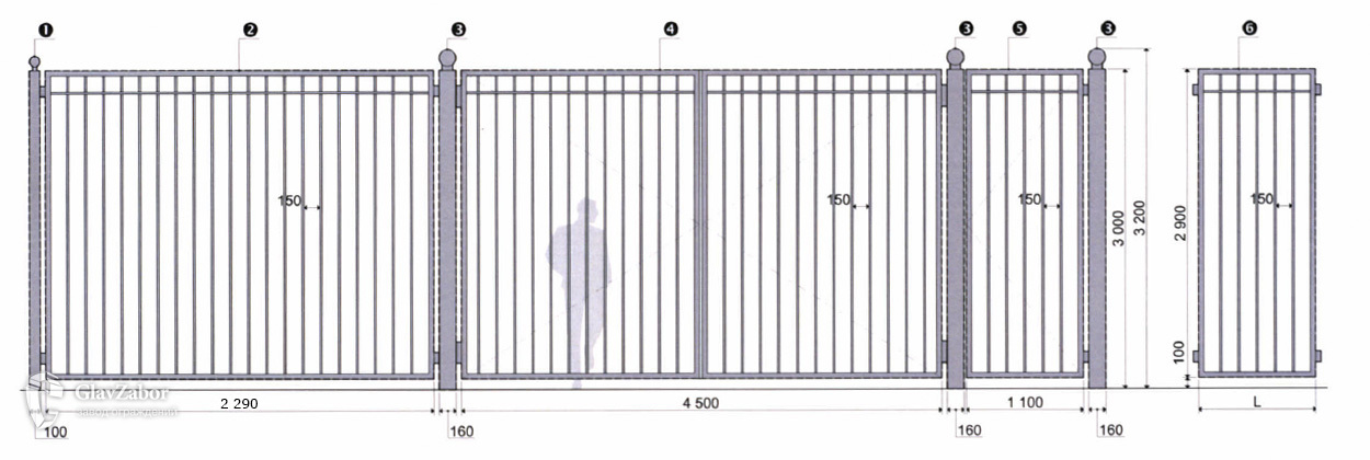 Эскиз ограждения высотой 3,0 м